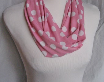 Pink and White Polka Dot Infinity Scarf - MEDIUM LENGTH Adult Teen Youth Valentine Scarf