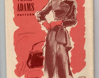 1940s Anne Adams 4978 Dress With Asymmetrical Buttoned Bodice And Peplum - Short Or Three Quarter Sleeve - Size 14 Bust 32 - Vintage Pattern