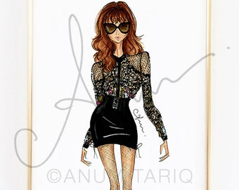 Fashion Illustration Print, Zuhair Murad Lace Blouse