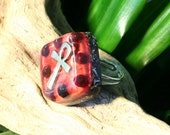 Garnet Orgone Ring – Energy Balancing and EMF Protection - Root Chakra Balancing - Spiritual Gift - Small Square