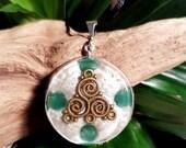 Aventurine Orgone Pendant  - Triskelion - Lightworker Jewellery - Heart Chakra Energy - Healing Crystal Pendant - Medium