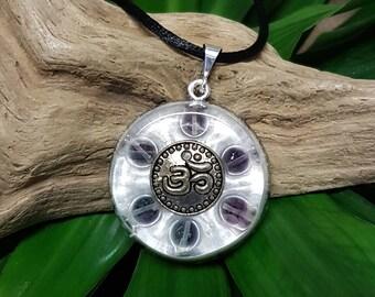 Fluorite Orgone Pendant- Om/AUM -  Healing Crystals, Lightworker Jewellery, Energy Pendant, Spiritual Gift - Medium