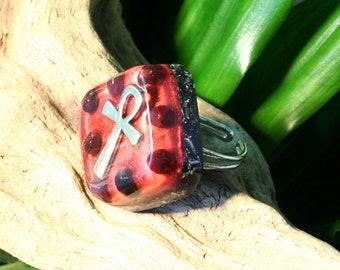 Garnet Orgone Ring – Energy Balancing and EMF Protection - Root Chakra Balancing - Spiritual Gift - Small Square