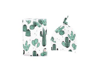 Jade Cactus Swaddle Blanket, Cactus Swaddling Blanket, Receiving Blanket, Baby Swaddler, Lightweight Cotton Blanket, Desert Baby Swaddle