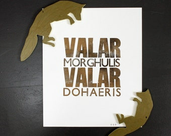 "Valar Morghulis Valar Dohaeris - Game of Thrones - Gold & Black - Original Letterpress Print - 10"" x 12"""