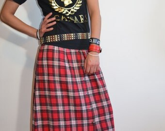 True Vintage 90s Red Lumberjack Plaid Flannel Maxi Skirt Grunge Fashion Style, Buffalo Plaid