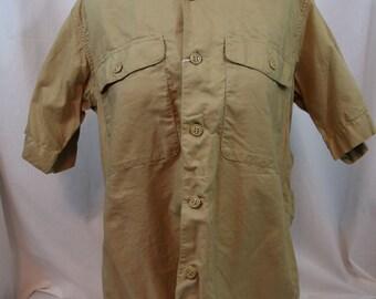 Vintage khaki short sleeve military shirt