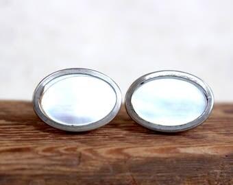 Edwardian MOP Rare vintage cufflinks / Never worn! / 1920s pearl silver cufflinks / art deco cufflinks