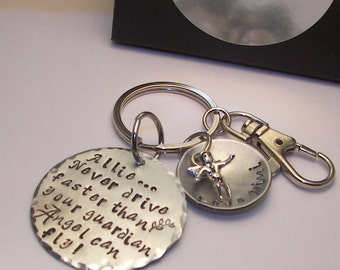New driver,16th birthday,Hand stamped jewelry,personalized,engraved,Don't drive faster than your guardian angel can,hand stamped keychain