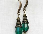 Malachite earrings Victorian malachite earrings Emerald gothic earrings Victorian jewelry green jewellery Malachite Jewellery
