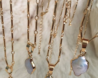 Mother of Pearl Charm Pendant Necklace Gold Plated Mother of Pearl Jewelry Connector Pendant Charm Gold Boho Bohemian Necklace Electroplated