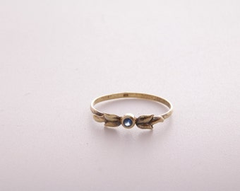 Blue sapphire gold plate and sterling silver stacking ring / sapphire ring / blue sapphire and sterling silver / dainty ring / size 7 ring