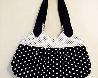 Black and White Polkadot Bag