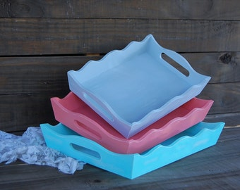 Painted Trays, Mint Green, Coral, Grey, Nesting, Handles, Wood, Shabby Chic, Hand Painted, Distressed, Beach, Rustic, Wedding, Set of 3