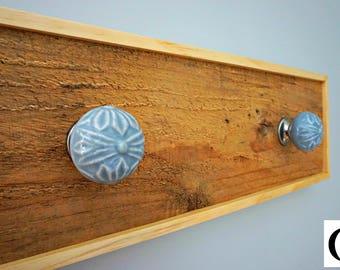 Wall coat hangerRustic Wooden Entryway Cherry Wood Coat Rack, Rustic & vintage Home Decor Furniture, Ceramic Hooks