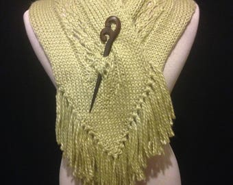 NECK WARMER Hand-Knitted Earthy Wool Scarf Shawl Cowl With Wood Pin for Winter by Els