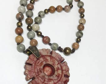 Carved Jade, Hand Knotted, Beaded, Jasper Beads, Boho Necklace, Asian Necklace, OOAK Jewellery, Jade Pendant, Statement Necklace