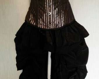Plus size heavy boned striped satin corset and frilled bustle skirt halloween day of the dead  boned corset with long satin bustle skirt
