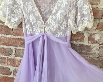 XS / RoVal Lace Babydoll Peignoir / Chiffon Babydoll / Sheer Negligee /  FREE USA Shipping