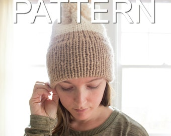 SALE! Double-Knit Brim Slouchy Beanie Pattern // Knit Beanie // Slouchy Hat // Beginner's Pattern // Simply Maggie