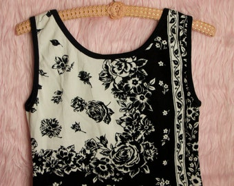 B&W Floral Tank Top with beaded detail