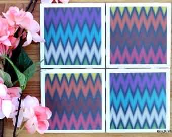 Coaster - Tile Coaster - Chevron Decor - Coasters for Drinks - Coasters Tile - Handmade Coasters - Rainbow Coasters - Chevron Coasters