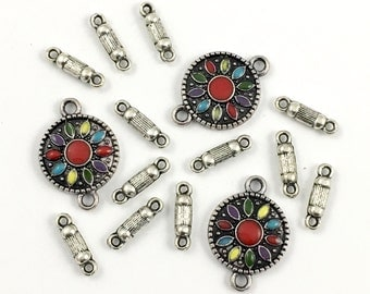 15 connectors antique silver and enamel,14mm to 23mm #CON084