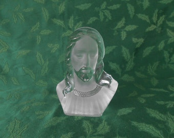 Viking Glass, Bust of Christ in Crystal Satin