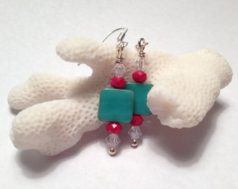 Green and Red Earrings