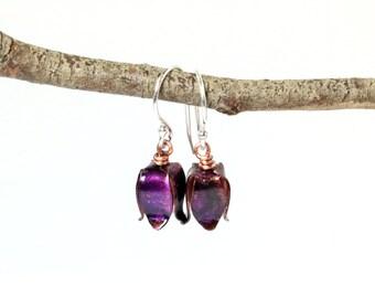 Purple Bluebell Earrings, Flower Earrings, Bluebells, Purple Flowers, Bluebell Earrings, recycled copper, eco friendly, sustainable jewelry
