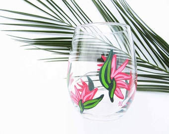Tropical Home Decor, Birds of Paradise, Tropical Bridal Shower, Hawaii Wedding, Bridal Shower Gift, Wine Gift, Bridal Party Gift