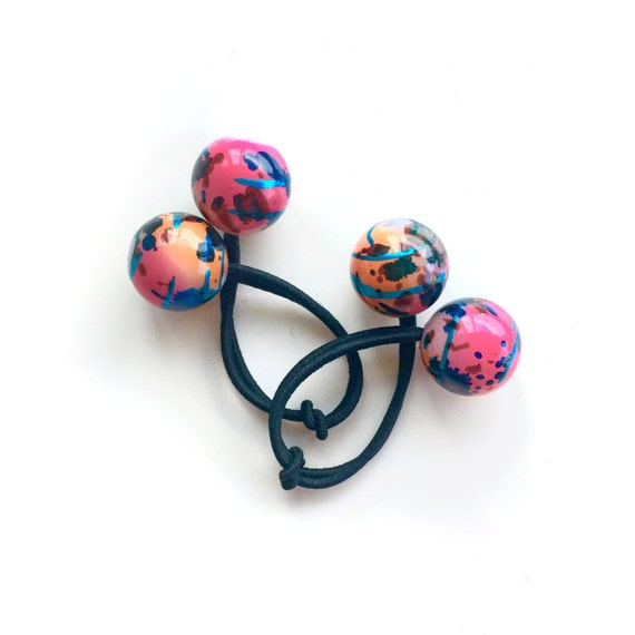 COLOUR SPLASH. Bobble Hair ties. Elastic hair ties. Retro style hair accessory. Pink and orange hair ties. Colour splash