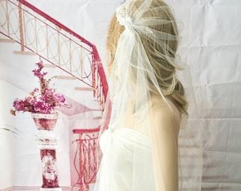 "Wedding veil, Ivory veil, bridal veil, Juliet cap veil, 1920s style veil, 44""long finger tip length,"