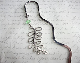 Tree leaf branch bookmark with green crystal