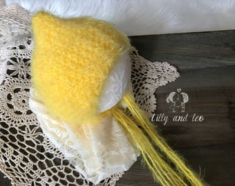 Ready to Ship Newborn Pixie Bonnet/Baby Hat Bonnet/Baby Photo Prop/Pixie Baby Bonnet Hat/Sunshine Yellow/Free Shipping
