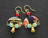 Half Circle Bell Earrings with Red and Teal Beads, Gold Bell Jewelry, Red and Teal Jewelry, Half Circle Jewelry, Unique Jewelry