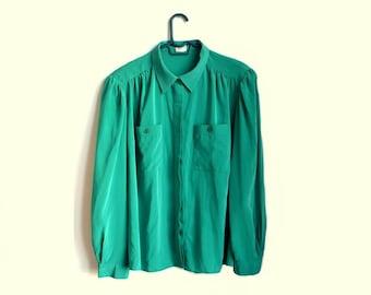Plus Size Green Button Up Blouse Womens Shirts Vintage XXL XXXL 2X 3X