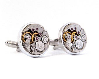 Steampunk Cufflinks, Vintage Watch Movement Cuff Links. Wedding Gift. Anniversary Present.
