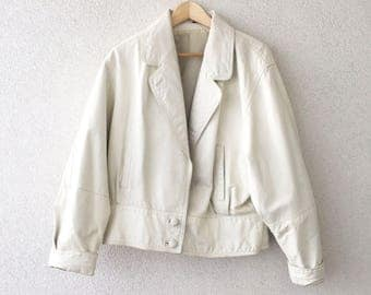 Vintage 80s Leather Jacket white / M