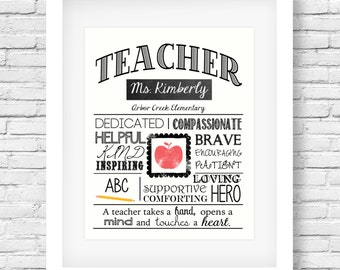 DIGITAL FILE Teacher's Printable - Teacher Appreciation - Teacher gift - End of year - Teacher retirement - Personalized