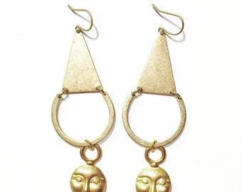 Woman on the Moon Earrings with Gold Moon Charms and Brass Triangles and Crescents