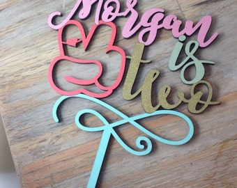 """piece sign two cake topper - name and age - Personalized 5"""""""