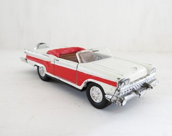 Vintage 1959 Cadillac Ford Galaxy Red and White  Toy Car Die Cast Metal no 8801