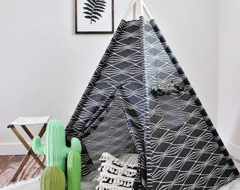 Charcoal Robert Allan Monochrome, Canvas, Play House, Teepee, Play Tent, Nursery, Teepee Tent, Kids Teepee, Indoor
