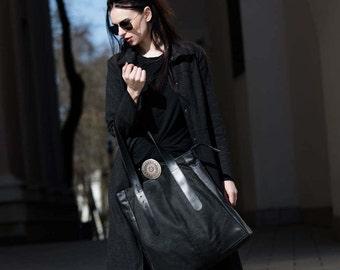 Minimalist Bag / Upcycled Bag / Recycled Bag /  Buckle Tote Bag / Urban Bag / Black Leather / Goth  Bag, Shoulder / Eco Bag