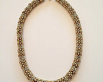 Satin Gold Superduo Necklace with Swaroski Crystals