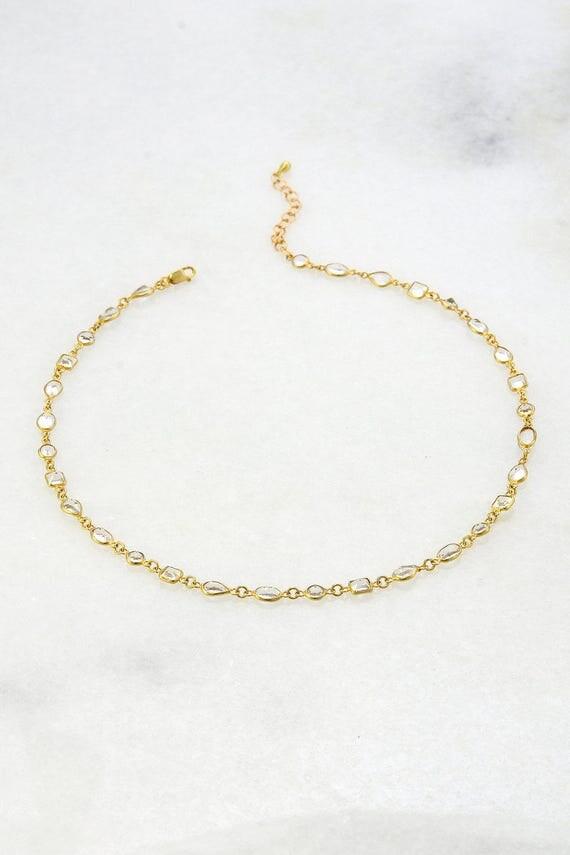 Choker Necklace - Gemstone Choker - Clear Quartz Choker - Delicate Choker Necklace - Gold Necklace - Minimal Choker - Tiny Gems Necklace