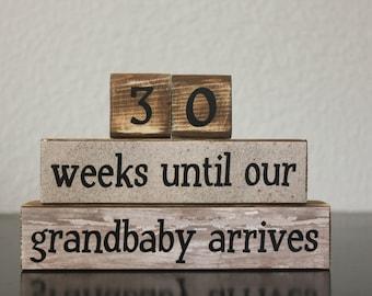 Neutral Grandparents Countdown Blocks Countdown to Grandbaby Beach Grandma Countdown Wood Countdown Blocks Neutral Pregnancy Announcement
