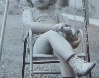 All Grown Up - Adorable 1940's Little Girl On A Swing Snapshot Photograph - Free Shipping