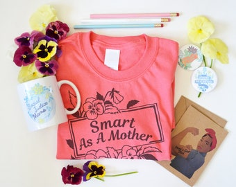 Feminist Mama Gift Bundle: Pick Your Own Tee, Mug, Pencils, Pins & Card